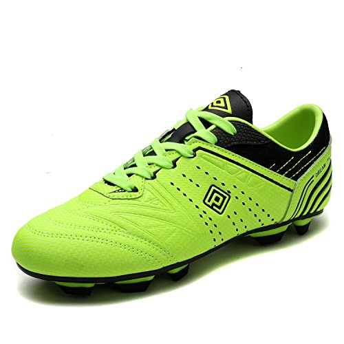Dream Pairs 160859 Men's Sport Flexible Athletic Lace Up Light Weight Outdoor Cleats Football Soccer Shoes NEONGREEN BLACK SIZE 7
