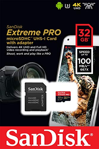 SanDisk Extreme PRO microSDHC Memory Card Plus SD Adapter up to 100 MB/s, Class 10, U3, V30, A1 - 32GB SDSQXCG-032G 5 Shoot like a Pro on your smartphone, tablet, or Camera with the SanDisk extreme Pro microSDHC UHS-I card Water proof, shock proof, x-ray proof, temperature proof Manufactured in China