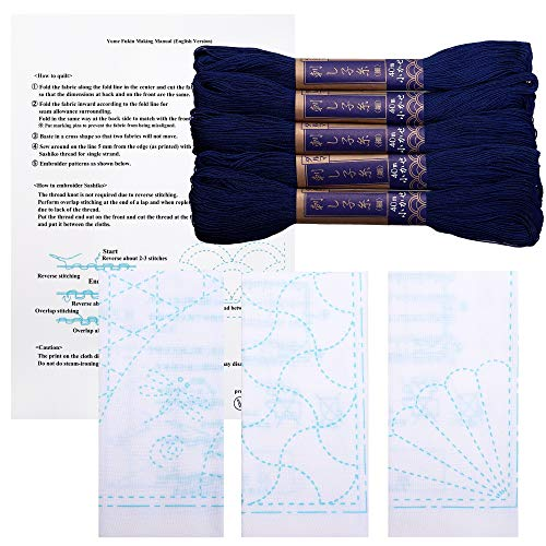 Sashiko kit | Yokota Sashiko Thread and Template Yume Fukin with Original English Manual, Fabric, Japanese Textile (Navy Thread/White Dishcloth 2) ()