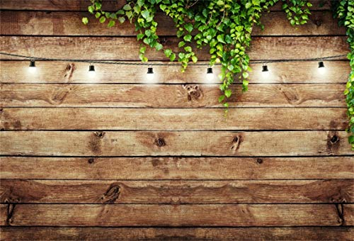 CSFOTO 10x7ft Background for Ivy on Wood Wall Photography Backdrop Decorative Lamp Green Leaves Rustic Wood Wall Holiday Celebration Night Party Decor Photo Studio Props Vinyl ()