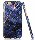 5s bumper navy - iPhone 5 Case, iPhone 5 5S SE Navy Blue Marble Design BAISRKE Slim Flexible Soft Silicone Bumper Shockproof Gel TPU Rubber Glossy Skin Cover Case for Apple iPhone 5 5S SE