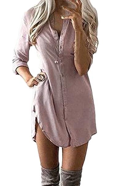 100% authentic 4690d c78d4 Donna Vestito Estivi Camicia Vestito Eleganti Corto Scollo AV Manica Lunga  Casual Solido Sciolto Estivo Spiaggia Business Vestiti da Giorno Abito ...
