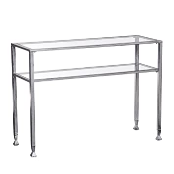 Perfect Contemporary, Long, Narrow, Distressed Silver Metal And Glass Console Table  | Modern Console Part 7