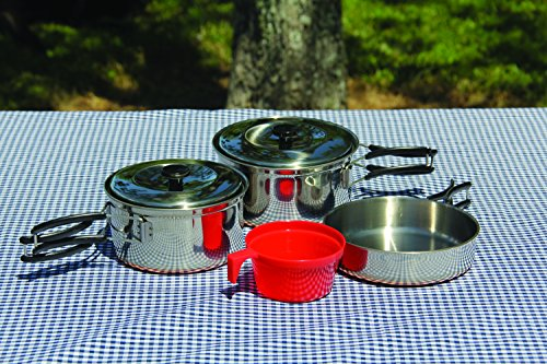 Texsport Backpackers Stainless Steel  Copper Bottom Outdoor Camping Cookware Cook Set with Storage Bag