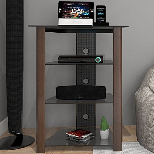 Ryan Rove Ashton Multi-Level Component Stand in Wood Espresso with Cable Management System (Component Wood)