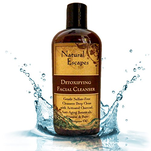 Natural Escapes | Lemongrass Detoxifying Daily Facial Cleanser w/Activated Charcoal | Antioxidant & Anti-Aging Cleanser for Velvety Soft & Smooth Skin | Sulfate-Free Face Wash | 4oz