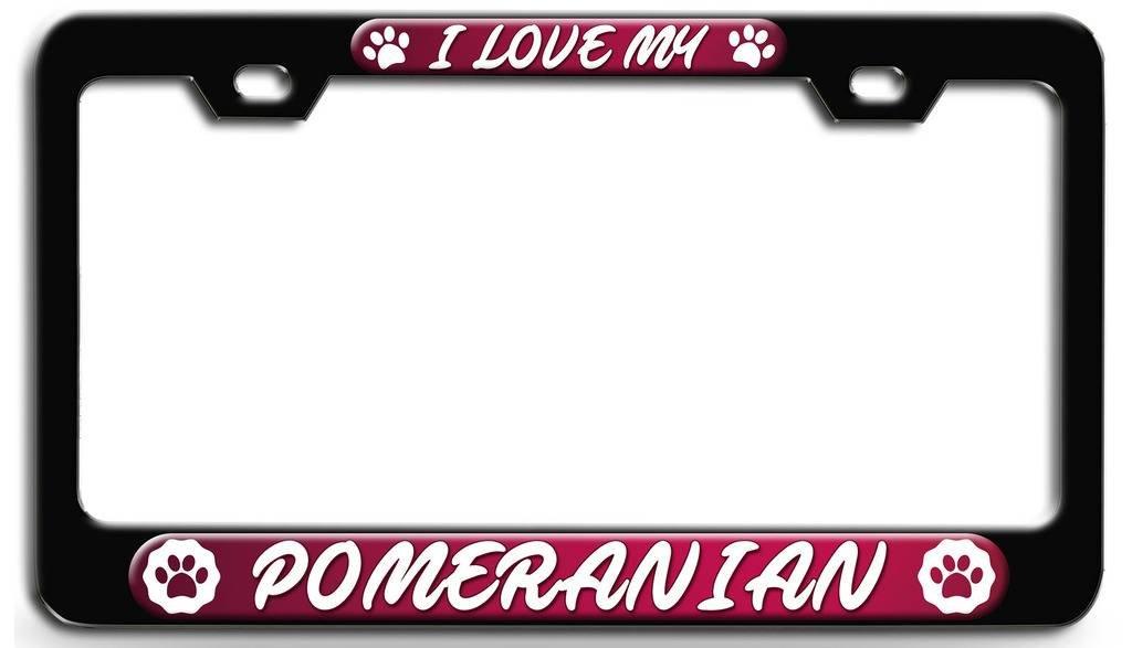 POMERANIAN DOG PINK ANIMAL Metal License Plate Frame Tag Holder