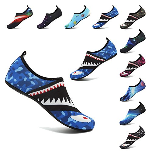 RaBia Unisex Barefoot Quick-Dry Water Sports Shoes for Run Dive Surf Swim Beach Yoga for Women Men Blue Shark US Women 5.5-6.5/Men 5-5.5M