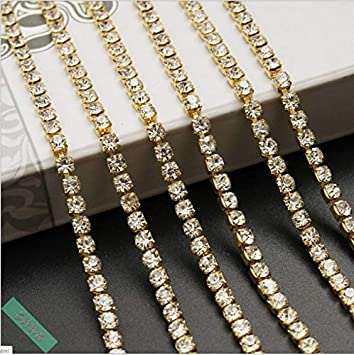 SCHOLMART 11 Yard Crystal Rhinestone Chain Clear Trim Sewing Craft Silver//Gold Color Various Size Available Golden, 2mm