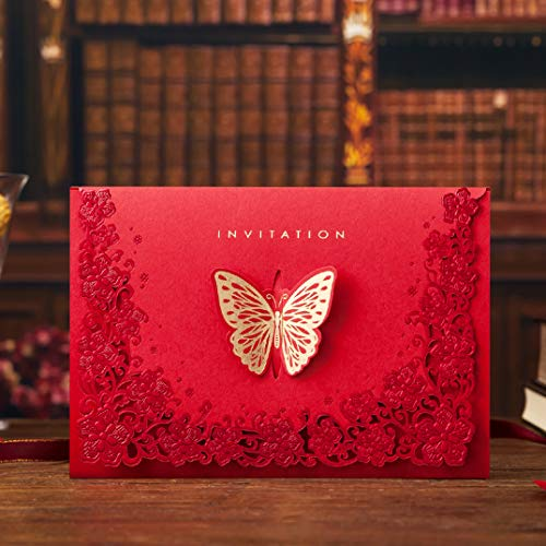 10pcs Vintage Wedding Invitation Chinese Style Red Laser Cut Luxurious Butterflies Engagement Invitations Card Set with Inner Page Envelope