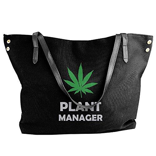Manager Canvas Weed Black Bags Pot Shoulder Handbag Large Messenger Women's Tote Plant 8dpwxS7p