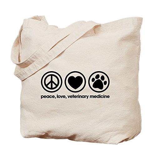 CafePress Peace Love And Veterinary Medicine Natural Canvas Tote Bag, Cloth Shopping Bag