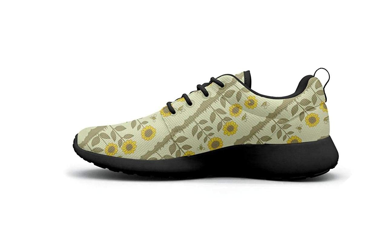 Breathable Ladies Lightweight Mesh Shoes White Yellow Sunflowers Red Poppies Loafers Running Lace-Up