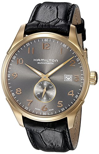 Hamilton Men's 'Jazzmaster' Swiss Automatic Gold and Black Leather Casual Watch (Model: H42575783)