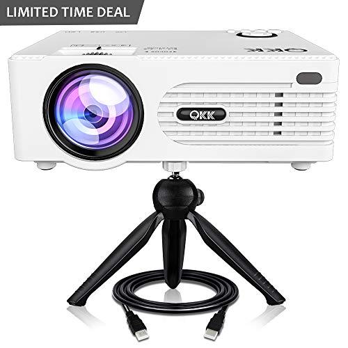QKK 2400Lux Mini Projector -Full HD LED Projector 1080P Supported, 50,000 Hour Lamp Life with 170' Display for Home Theater Entertainment,Slide Projector HDMI,TV,SD Card,AV,VGA,USB x2 Supported