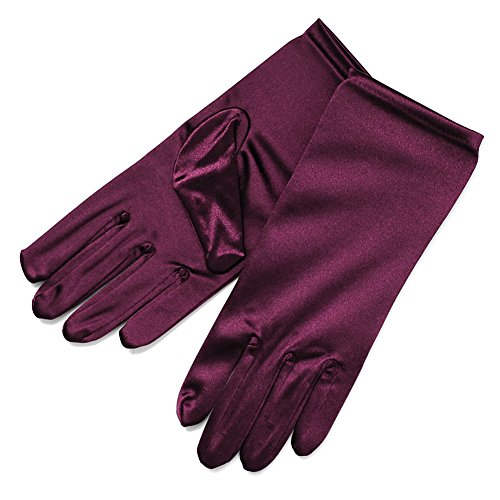 ZaZa Bridal Shiny Stretch Satin Dress Gloves Wrist Length 2BL-Plum (Shiny Plum)