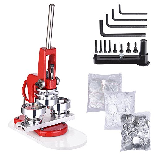 Yescom 2 1/4 inch 58mm Button Badge Maker Punch Press Machine with 1000 Pcs Pin-back Button Parts and Circle Cutter ()