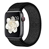 Misker Compatible with for Apple Watch Band 38mm 40mm 42mm 44mm Soft Nylon Sport Loop Replacement for Watch Series 4 3 2 1 Pure Black