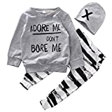 Orcan Bluce Baby Clothing Sets Newborn Baby Girl Boy Long Sleeve T Shirt+ Zebra Pant Hat 3pcs Outfits Set