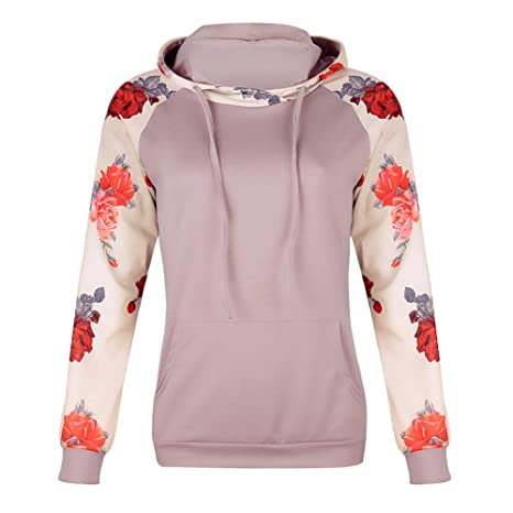 Pocket Drawstring Pullover Top Women Casual Stand Printed Long Sleeve Blouse at Amazon Womens Clothing store: