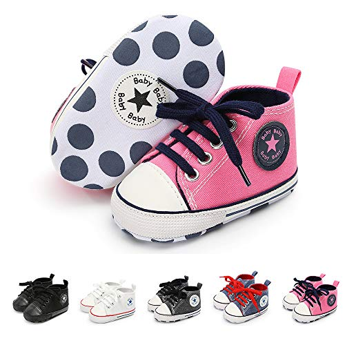Save Beautiful Baby Girls Boys Canvas Sneakers Soft Sole High-Top Ankle Infant First Walkers Crib Shoes (6-12 Months Infant, H-Pink) (High Top Sneaker Girls)