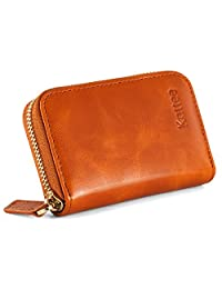 Kattee Women's Genuine Leather Credit Card Holder RFID Blocking Zipper Wallet (Brown)