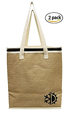 Earthwise Large Jute Insulated Shopping Grocery Bags w ZIPPER TOP LID Thermal Cooler Tote KEEPS FOOD HOT OR COLD ( Set of 2 )