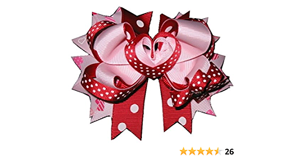 lady bug bow pink valentine bow nylon headband red heart bow classic bow style hair clips fabric bow Love bug hair bow infant bows