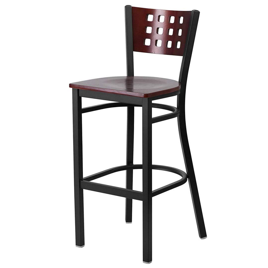 Modern Style Metal Dining Bar Stools Pub Lounge Restaurant Commercial Seats Mahogany Wood Cutout Back Design Black Powder Coated Frame Finish Home Office Furniture - (1) Mahogany Wood Seat #2207 by KLS14 (Image #1)