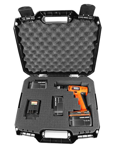 DRILL CASE - RUGGED Case fits BLACK & DECKER Cordless Drills / Drivers , Batteries , Chargers and Bits - Fits LDX120 20-Volt / LD120VA / BDCD120VA / SS-12 / BDCDMT120 / BDCDD220C and more