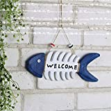 Lightlamp Mediterranean Creative Wooden Fish Bone Welcome Card Marine Hanging Crafts Decoration Photo Wall Partner