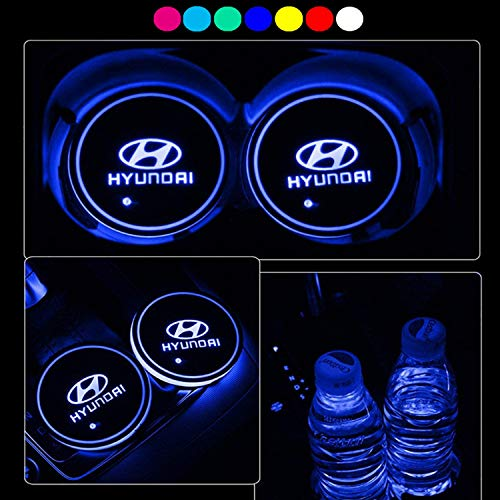 Lntly LED Car Logo Cup Holder Pad Waterproof Bottle Drinks Coaster Built-in Light 7 Colors Changing USB Charging Mat LED Cup Mat Car Atmosphere Lamp 2PCS (Hyundai)