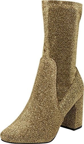 Cambridge Select Women's Closed Round Toe Side Zip Chunky Block High Heel Mid Calf Boot (5.5 B(M) US, Gold Glitter)