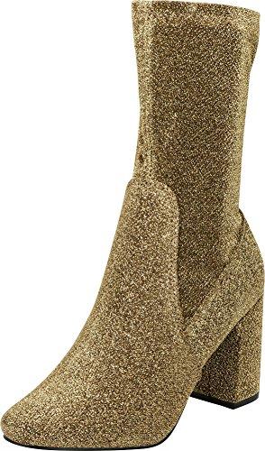 (Cambridge Select Women's Closed Round Toe Soft Stretch Sock Style Chunky Block Heel Mid-Calf Boot,9 B(M) US,Gold Glitter )