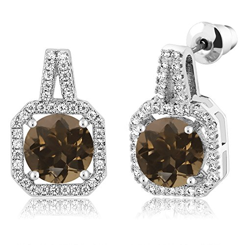 (Gem Stone King 4.31 Ct Round Brown Smoky Quartz Rhodium Plated Brass Double Halo Earrings)