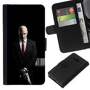 iBinBang / Flip Funda de Cuero Case Cover - AGENTE 47 HITMAN ASESINO MORTAL - Samsung Galaxy Core Prime