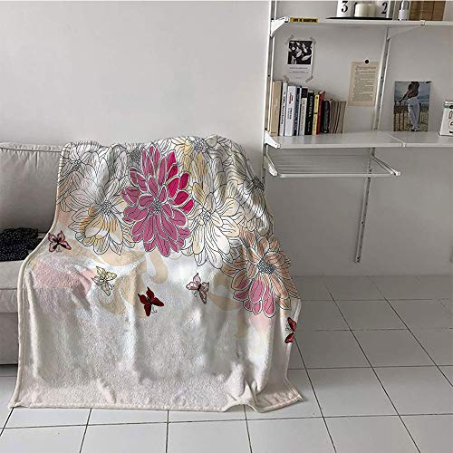 Children's Blanket Throw Soft Blanket Microfiber (60 by 62 Inch,Grunge Home Decor,Baby Pink Floral Spring Composition with Flowers and Butterflies Vintage Decor Print,Pink Cream
