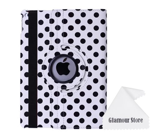iPad Air 2 Case,White+Black Polka Dot 360 Degree Rotating Leather stand Case Smart Cover For New Apple iPad 6 Apple iPad Air 2