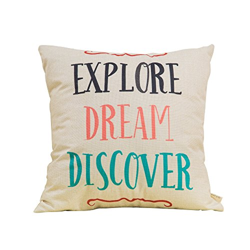 Fjfz Cotton Linen Home Decorative Throw Pillow Case Cushion Cover for Sofa Couch Aztec Theme Explore Dream Discover, Black Pink Coral Mint Turquoise, 18