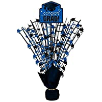 Congrats Grad Graduation Party Spray Centerpiece W/ Printed Add On ‑ Blue Decoration, Blue, Plastic , 18""