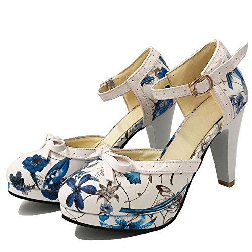 Escarpins Sandales TAOFFEN Flower Bout Ete Femme Cheville Talon Ferme Floral Mode Bride Rond Blue haut BXvqBf