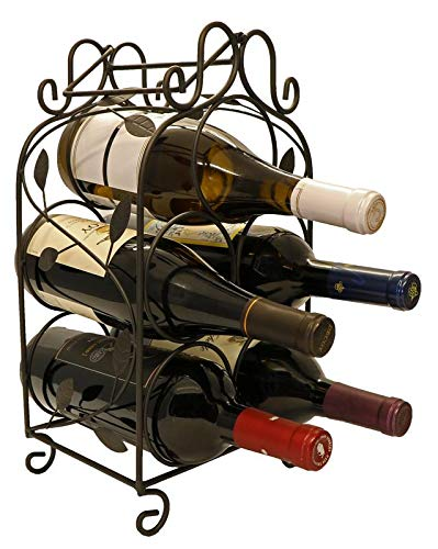 KitchenEdge Rosabel 5 Bottle Metal Wine Rack for Tabletop or Countertop, Free Standing, Metal (Black) (Wine Wrought Iron Metal Rack)