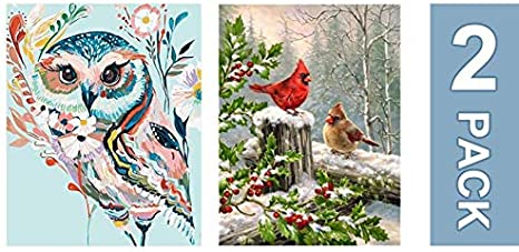 Two Pandas Drawing with Brushes Christmas Decor Decorations Gifts Frame DIY Oil Paint by Number Kit for Adults Beginner 16x20 inch