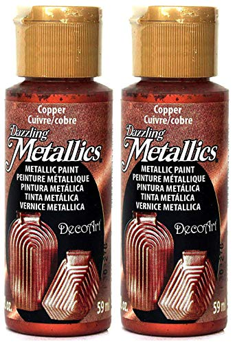 2-Pack - DecoArt Dazzling Metallics Acrylic Colors - Copper, 2-Ounces - Paint Copper