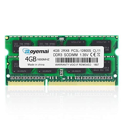 ROYEMAI 4GB DDR3/DDR3L 1600MHz Sodimm 2RX8 PC3/PC3L-12800S PC3-12800 204pin 1.35v CL11 Memory Laptop RAM Module for Intel AMD and Mac System Chips for AMD and ()