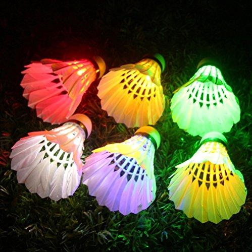 LED Shuttlecock Badminton Birdies, Leadge Shuttlecock Dark Night Goose Feather Glow Birdies Lighting for Outdoor Indoor Sport Activities Toys gift game([6 Pack]) ([6 Pack] Multi color)