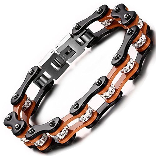 Wide Link Diamond Bracelet (BEMI Cool Style Gothic 10MM Wide Bike Motorcycle Chain Polished Stainless Steel Link Bracelet for Men Orange)