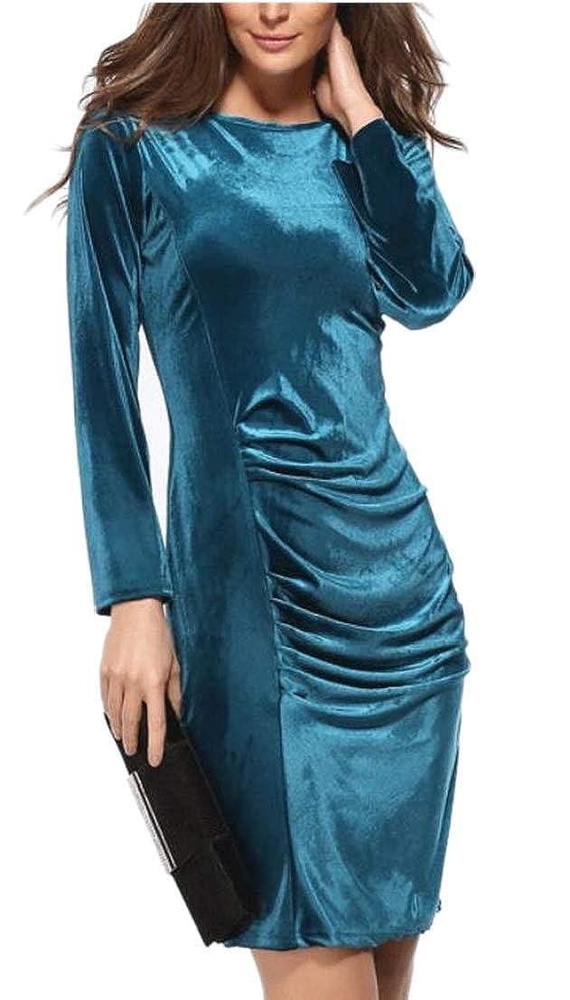Generic Womens Round Neck Slim Fit Velvet Bodycon Long Sleeve Cocktail Party Midi Dress
