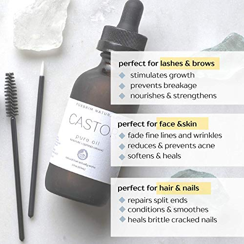 Foxbrim Organic Castor Oil - 100% Pure - Hexane Free - Grow Eye Lashes and Eye Brows - For Hair Skin and Nails - With Applicator Wand and Brush Kit - 2oz