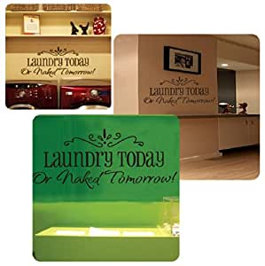 """Motto """"Laundry Today"""" DIY Removable Wall Decal Sticker Art Vinyl Wall Sticker Decal Home Room Decoration"""